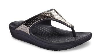 Crocs Womens Sloane Metallic Texture Flip